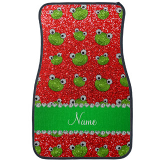 Personalized name neon red glitter frogs car mat