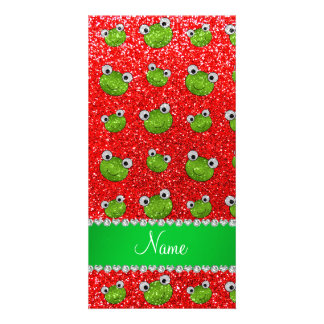 Personalized name neon red glitter frogs custom photo card