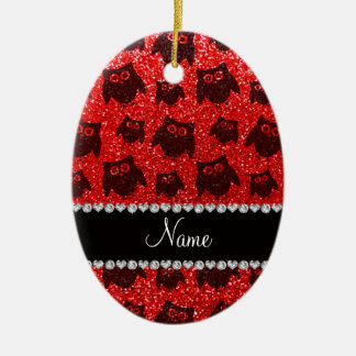 Personalized name neon red glitter owls christmas ornament