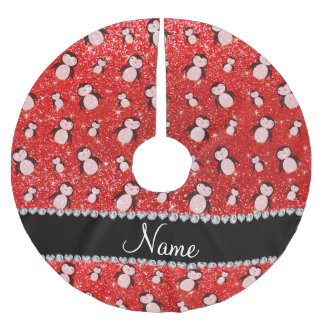Personalized name neon red glitter penguins brushed polyester tree skirt