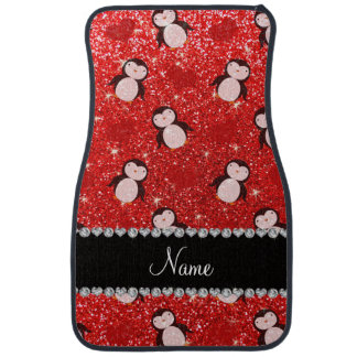 Personalized name neon red glitter penguins hearts car mat