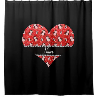 Personalized name neon red glitter penguins shower curtain