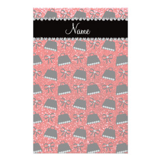Personalized name neon red glitter purses bow customized stationery