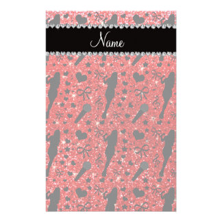 Personalized name neon red glitter singer stationery design