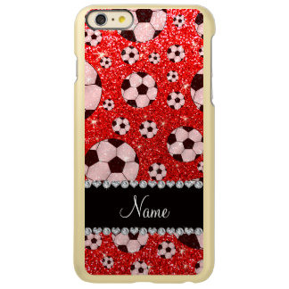 Personalized name neon red glitter soccer