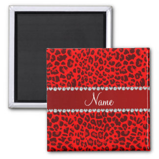 Personalized name neon red leopard pattern fridge magnets