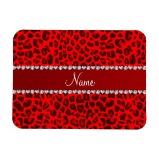 Personalized name neon red leopard pattern rectangle magnet