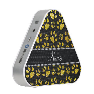 Personalized name neon yellow glitter cat paws bluetooth speaker