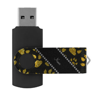 Personalized name neon yellow glitter cat paws swivel USB 2.0 flash drive