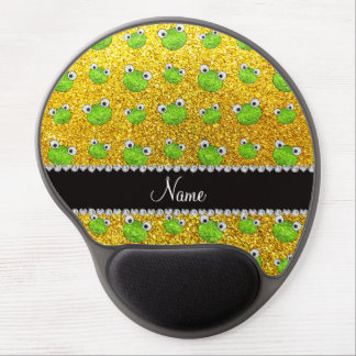 Personalized name neon yellow glitter frogs gel mouse mat