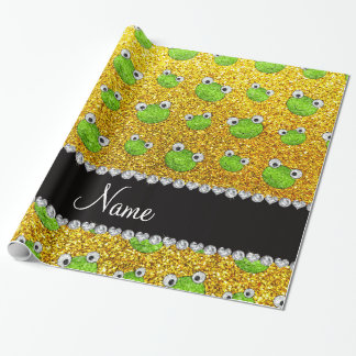 Personalized name neon yellow glitter frogs wrapping paper