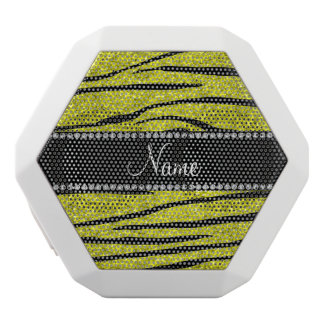 Personalized name neon yellow glitter zebra stripe white boombot rex bluetooth speaker