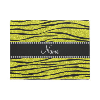Personalized name neon yellow glitter zebra stripe doormat