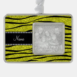 Personalized name neon yellow glitter zebra stripe silver plated framed ornament