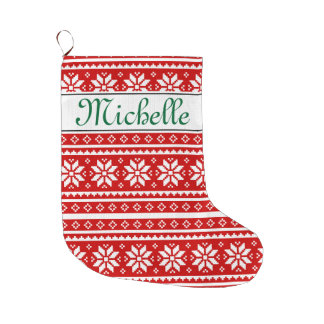 Personalized name nordic Christmas stocking