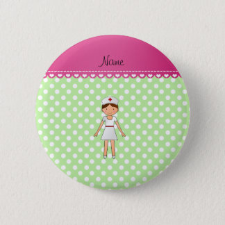 Personalized name nurse green polka dots 6 cm round badge