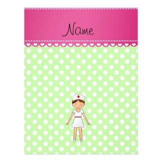 Personalized name nurse green polka dots flyer