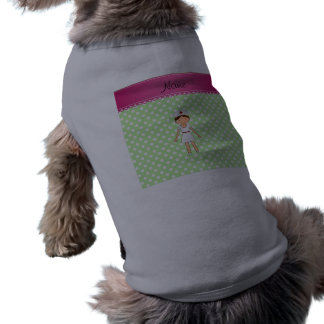 Personalized name nurse green polka dots sleeveless dog shirt