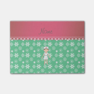 Personalized name nurse green snowflakes post-it notes