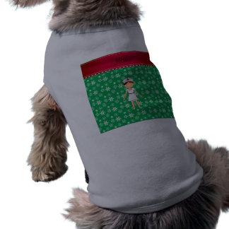 Personalized name nurse green snowflakes sleeveless dog shirt