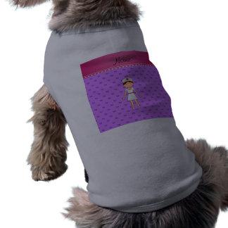 Personalized name nurse pastel purple hearts sleeveless dog shirt
