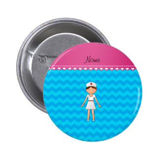 Personalized name nurse sky blue chevrons 6 cm round badge