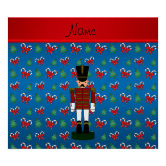 Personalized name nutcracker blue candy canes bows posters