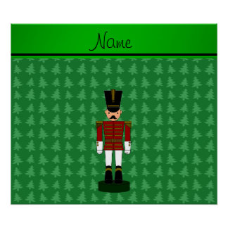 Personalized name nutcracker green Christmas trees Posters