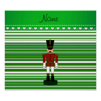 Personalized name nutcracker green stripes posters