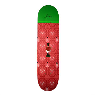 Personalized name nutcracker red snowman trellis skate board decks