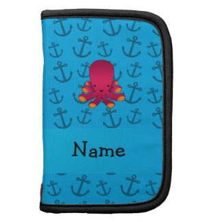 Personalized name octopus blue anchors pattern planner