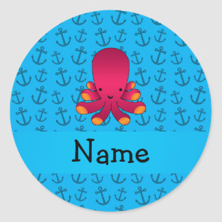 Personalized name octopus blue anchors pattern round stickers