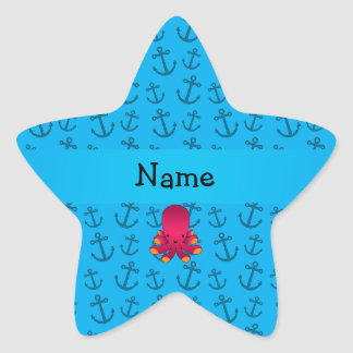 Personalized name octopus blue anchors pattern star sticker
