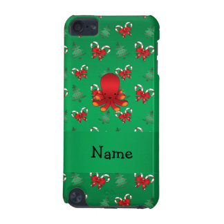 Personalized name octopus green candy canes bows iPod touch (5th generation) case