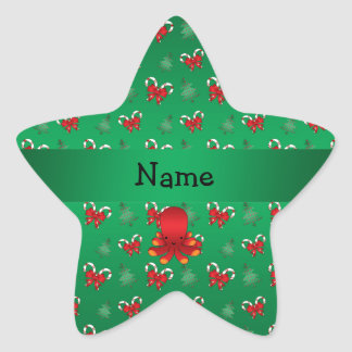 Personalized name octopus green candy canes bows star stickers