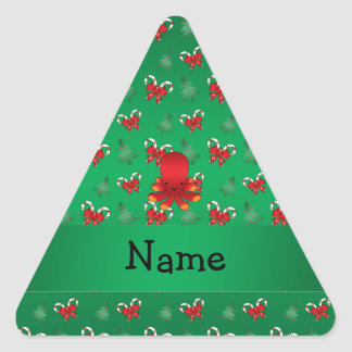 Personalized name octopus green candy canes bows sticker