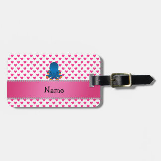 Personalized name octopus pink hearts polka dots luggage tag