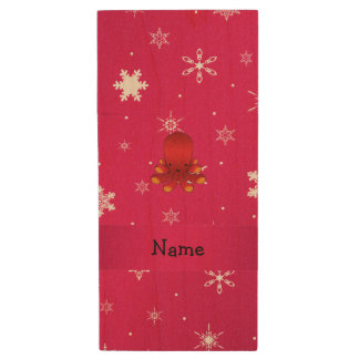 Personalized name octopus pink snowflakes wood USB 2.0 flash drive