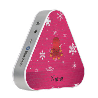 Personalized name octopus pink snowflakes bluetooth speaker