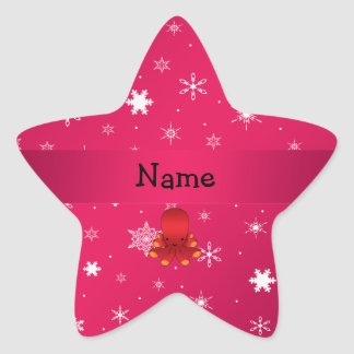 Personalized name octopus pink snowflakes stickers