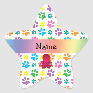 Personalized name octopus rainbow paws star sticker