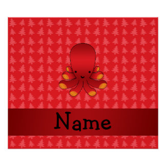 Personalized name octopus red christmas trees poster