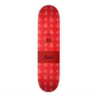 Personalized name octopus red christmas trees skateboard deck