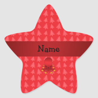 Personalized name octopus red christmas trees star stickers