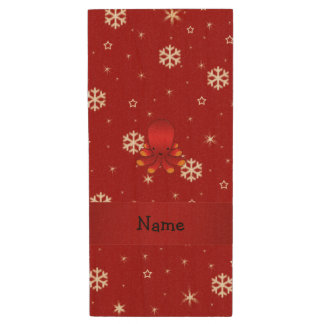 Personalized name octopus red snowflakes wood USB 2.0 flash drive