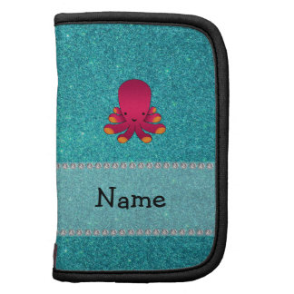 Personalized name octopus turquoise glitter folio planners