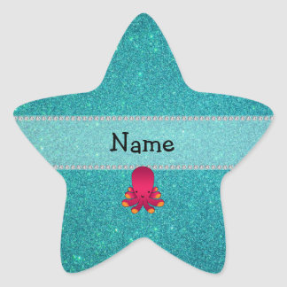 Personalized name octopus turquoise glitter stickers