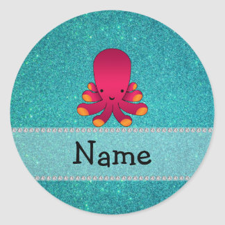 Personalized name octopus turquoise glitter round stickers