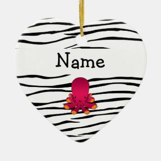 Personalized name octopus zebra stripes christmas ornament
