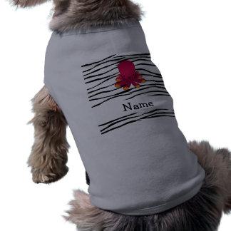 Personalized name octopus zebra stripes dog shirt